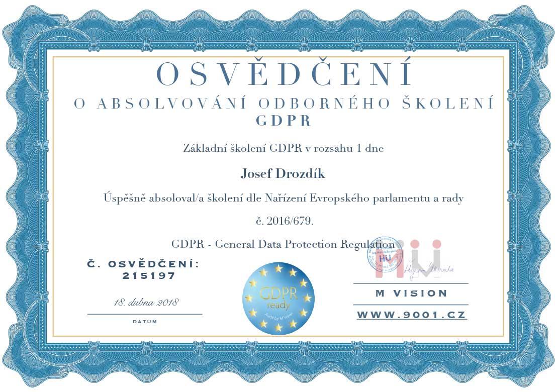 GDPR Josef Drozdík Osvědčení