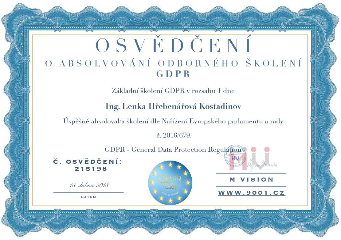 GDPR Lenka Hřebenářová Osvědčení